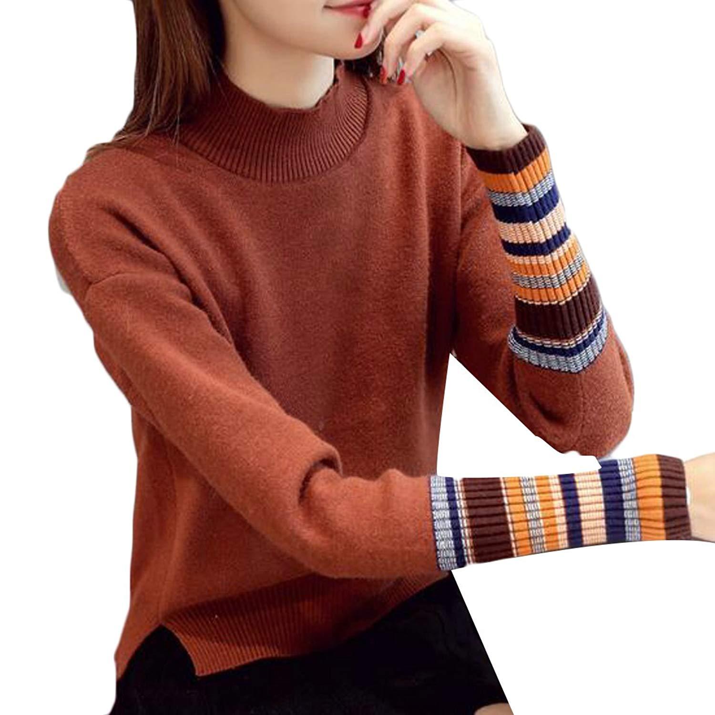 GenericWomen Generic Women's Autumn Casual Slim Mock Neck Long Sleeve Knit Top Sweater