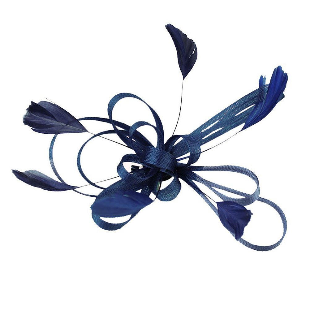 Tinksky Feather Hair Clips Wedding Bridal Feather Fascinator Hair Clip Hair  Accessory (Navy Blue) 1185f568a11