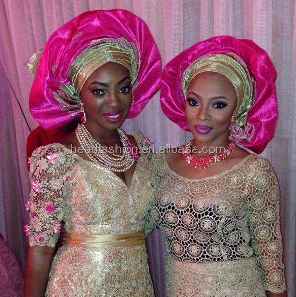 Fashion African Aso-oke Head Tie Plain Gold Gele - Buy Aso Oke e5732646d69