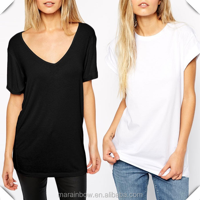 Black Cotton Plain Women Summer Deep V Neck T Shirts White Blank ...