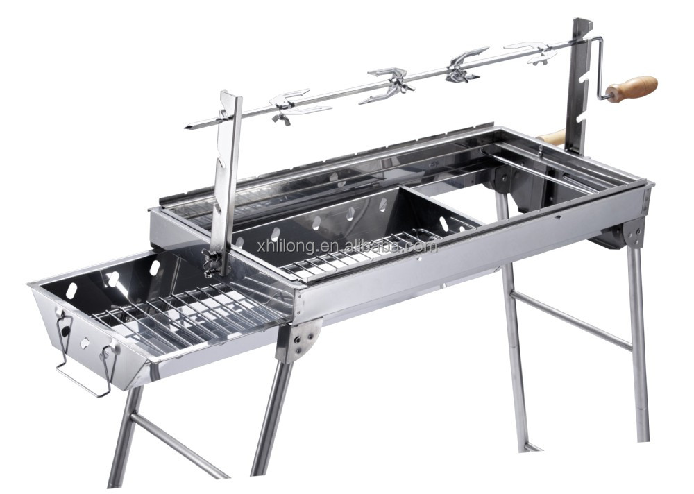 wood stove camping equipment stainless steel height adjustable charcoal bbq grill rotisserie - Stainless Steel Charcoal Grill
