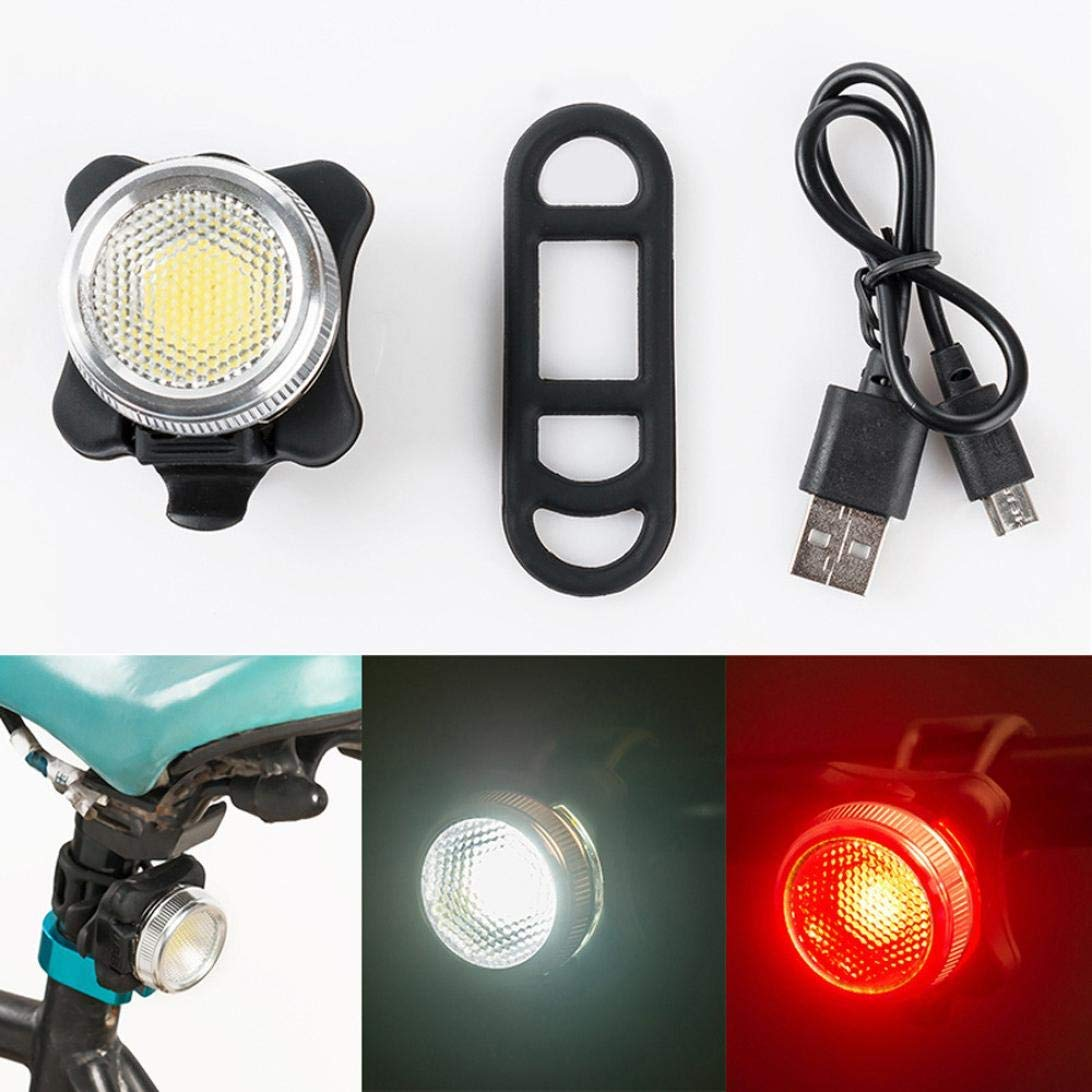 Glumes Front/Rear Bike Light USB Rechargeable|Ultra Bright Powerful Safety Taillight|High Intensity Rear LED Accessories|Red +White Light|4 Light Mode Options|Waterproof|for all Bikes/Helmets (Black)