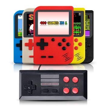 2019 New design portable handheld console built-in 400 retro games support 2 players TV console