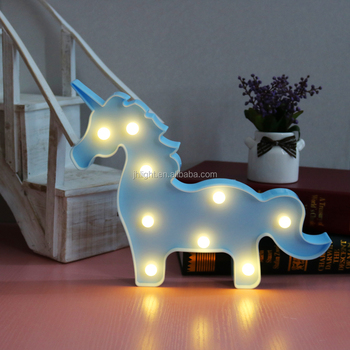 Unicorn Night Light White Blue Pink Led Children Lamp Baby Nursery Bedroom