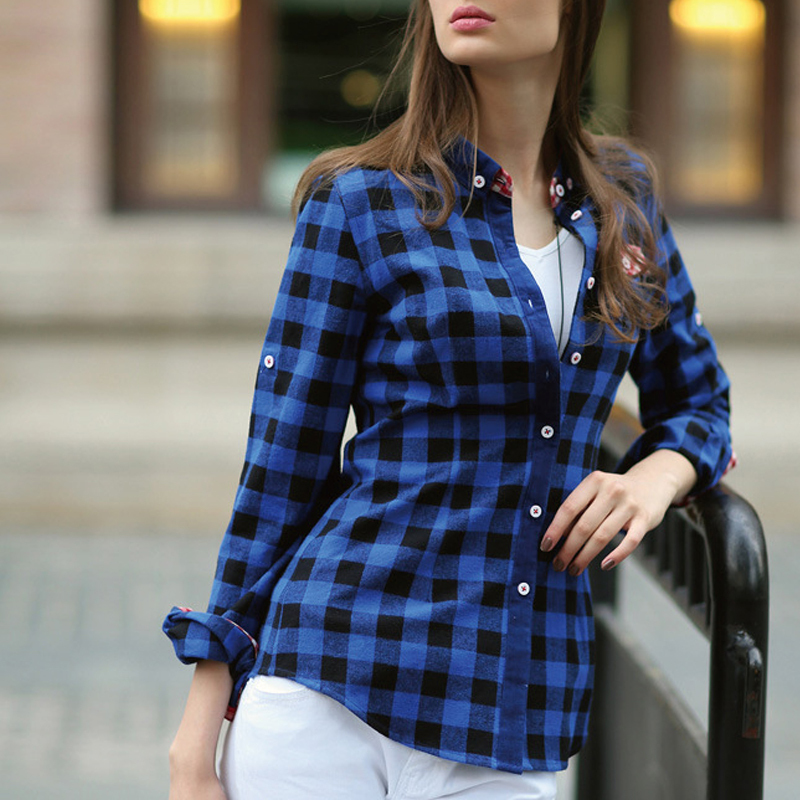 2717eec4a9a634 A plaid shirt tucked into khakis or skinny jeans and matched with a solid  colored blazer