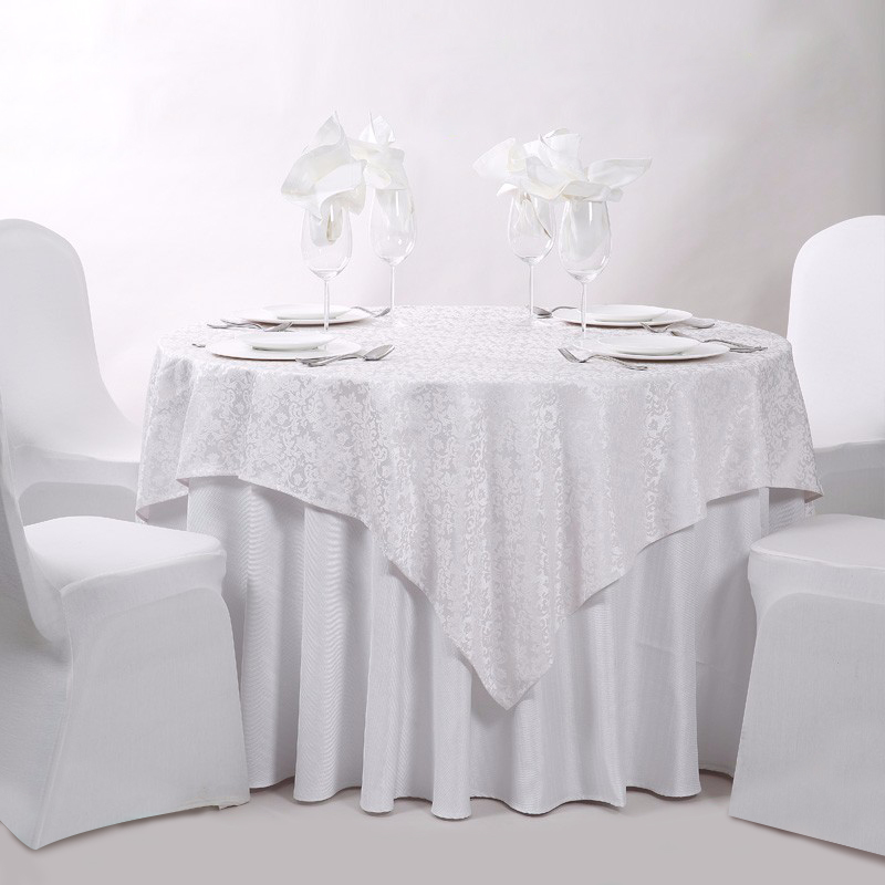 Sampel Gratis Bulat Putih Kapas Poliester Perjamuan Pernikahan Linen Hotel Taplak Meja Taplak Meja untuk Hotel