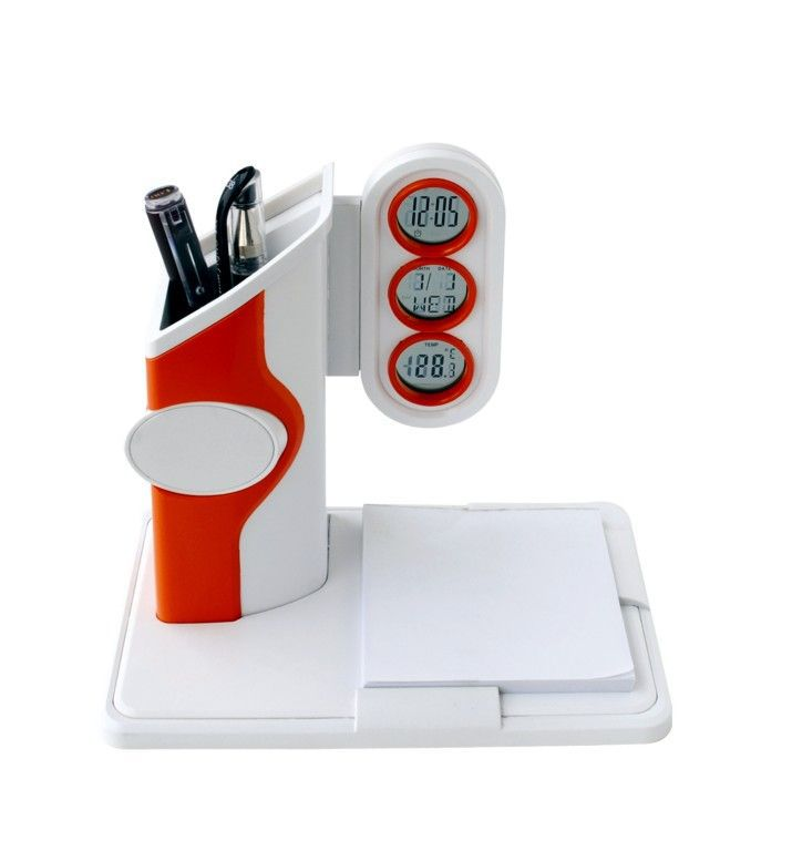 3 in 1 multi l lcd pen holder with digital calendar clock with note pad