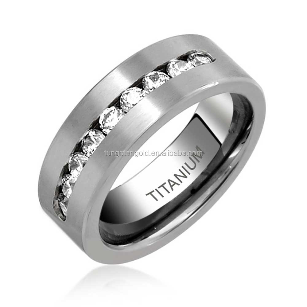 Fashion Jewelry Unisex Titanium Ring High Polished Channel Set 9CZ Wedding Band