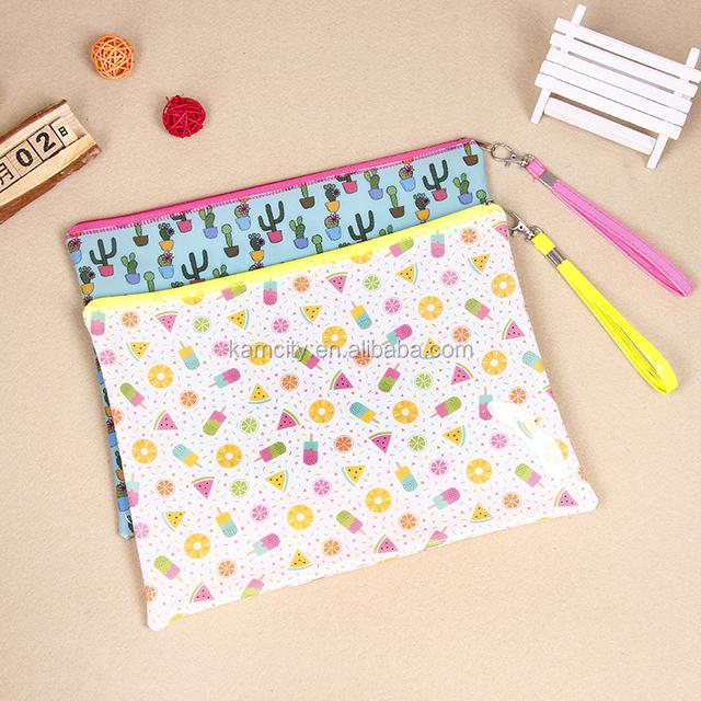 Waterproof Full Color Printing Pvc Document Zip Bag With Braid