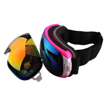 Guangzhou manufacturer Custom Interchangebale lens double Anti-fog mirror lens ski goggle snowboard goggles with your logo strap
