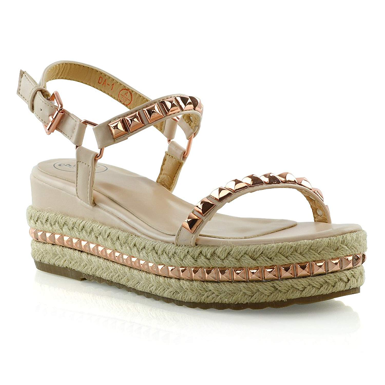 b98e16fed191c Get Quotations · ESSEX GLAM Womens Strappy Platform Espadrilles Ladies  Studded Wedge Heel Summer Sandals