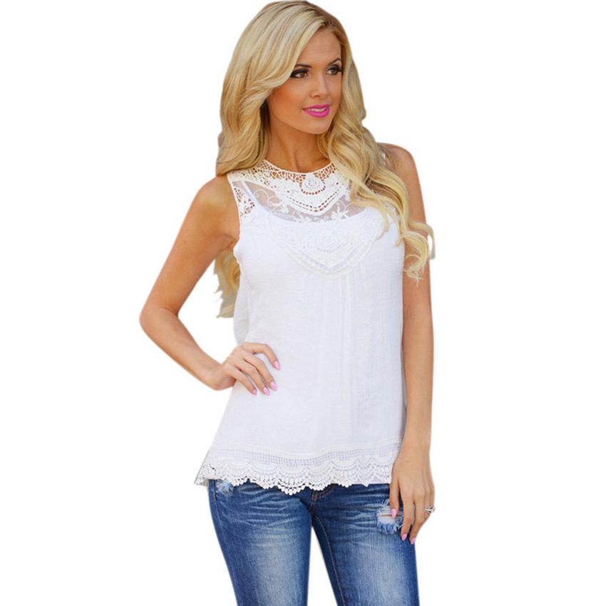 b3b8f53eebf4cb Get Quotations · JECKSION blusa de renda feminino Women Summer Blouse 2015  Cotton Bend Lace Blouse Sleeveless Casual Tank