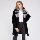 Winter Fashion Style Real Rex Rabbit Fur Jacket Long Coat For Women Outerwear