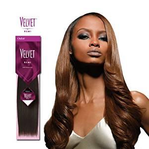 Get Quotations · Velvet Remi Human Hair Weave   Yaki Weaving (18 Inch, 4   Light  Brown
