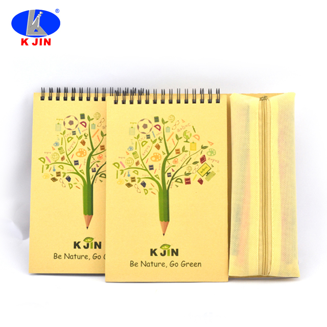 full set high quality spiral notebook gift set stationary accessories with color pencils