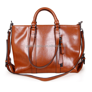 Brown Large Split Oil Waxed Leather Tote Handbag Storage Tote With Cross Body Strap