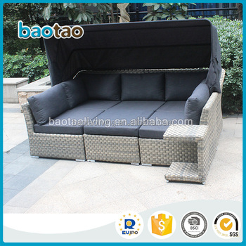2017 New Arrival Garden Plastic Rattan Sofa With Tent Sectional Outdoor Furniture Set