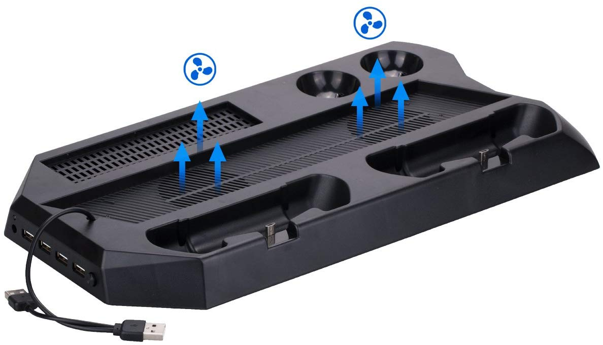 9CDeer Multifunction Stand Support for PS4 PRO Console and PS VR Data Connector, Built in Fan Cooler, Controller Charger x 2, Move Charger x 2, USB Ports x 4