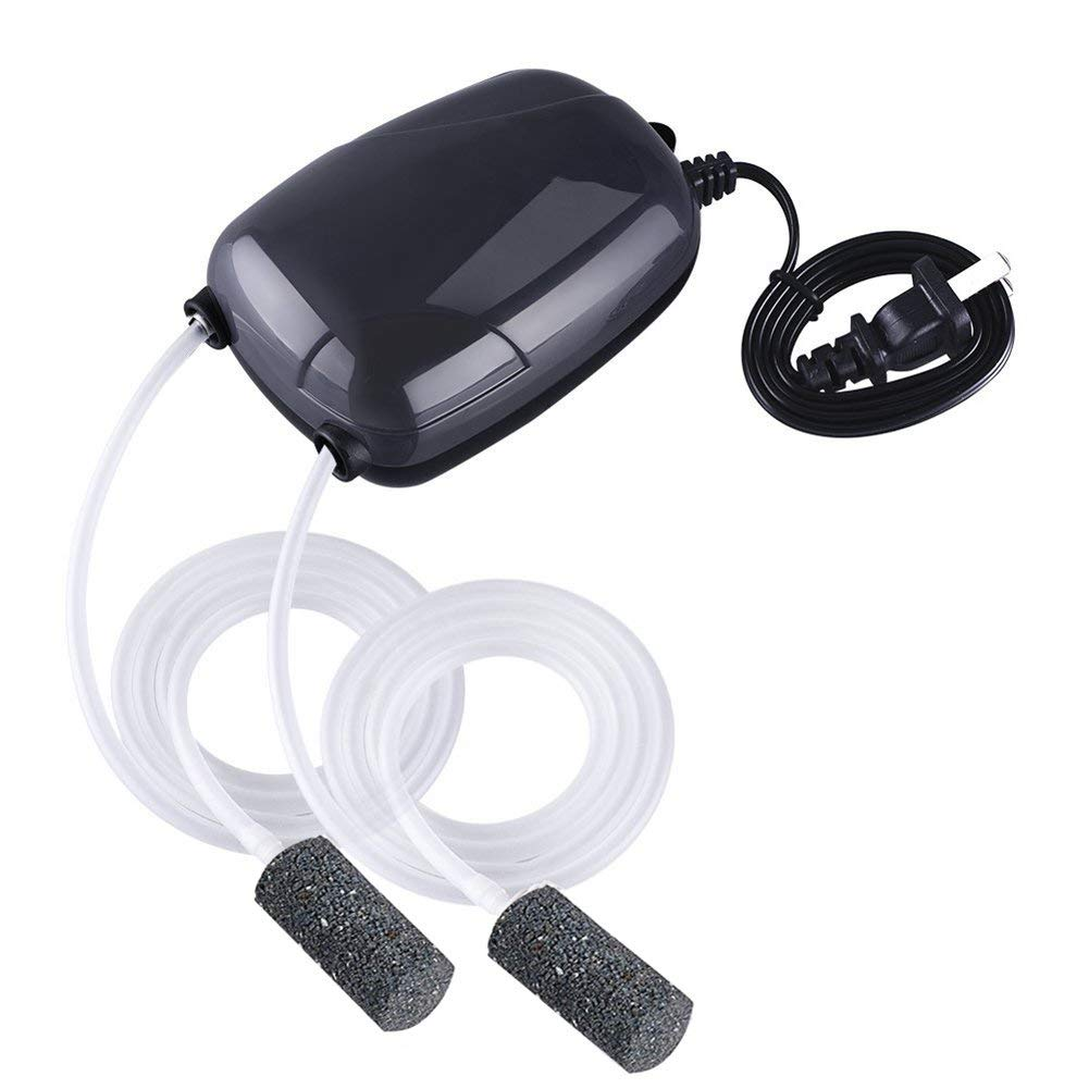 Wisenovo Aquarium Air Pump With Two Ultra-big Outlet Holes,Super Silent Oxygen Air Pump For Fish Tank With 2 Air stone/2M Silicone Tube
