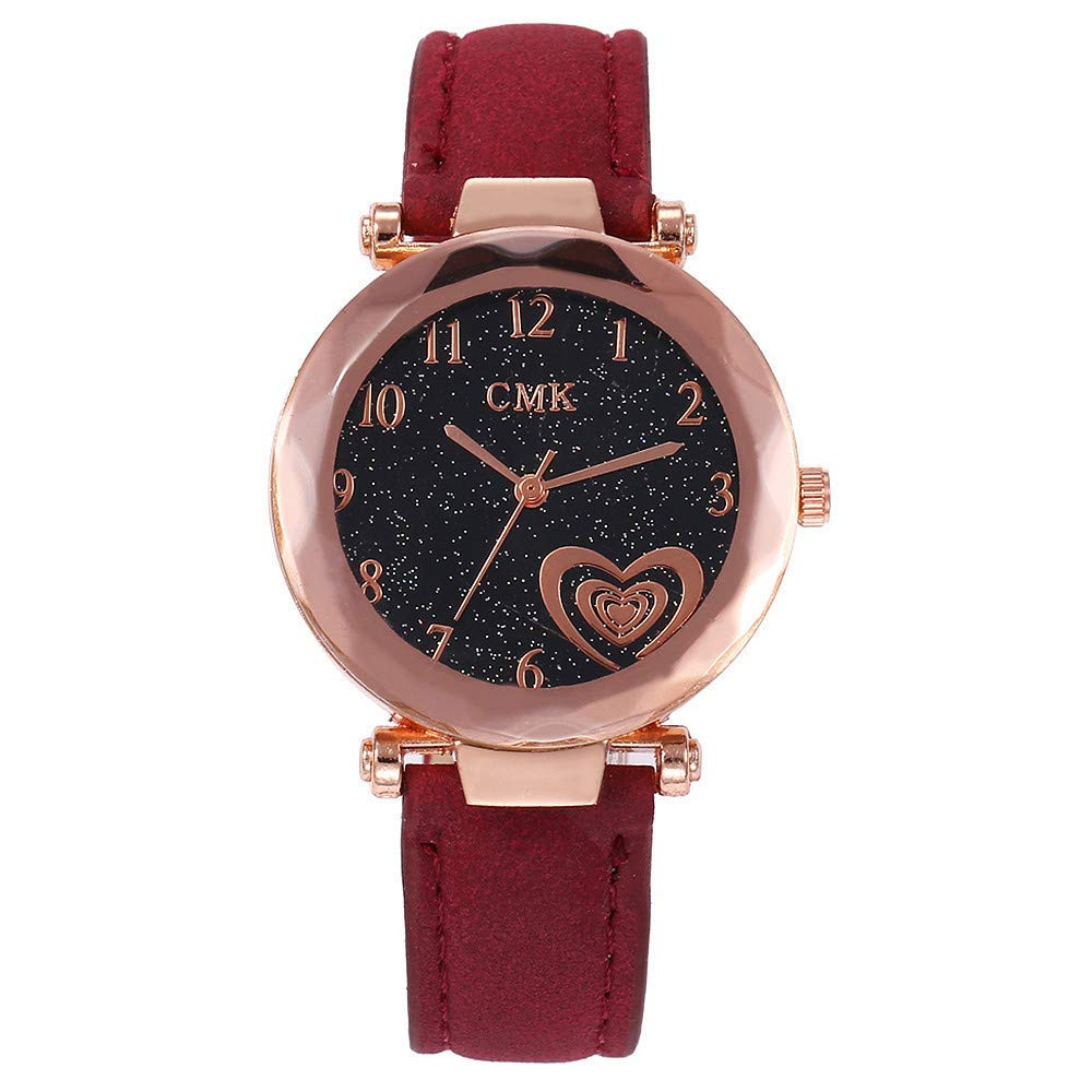 AKwell Women's Casual Quartz Leather Band Small Round Disc Love Heart Analog Wrist Watch