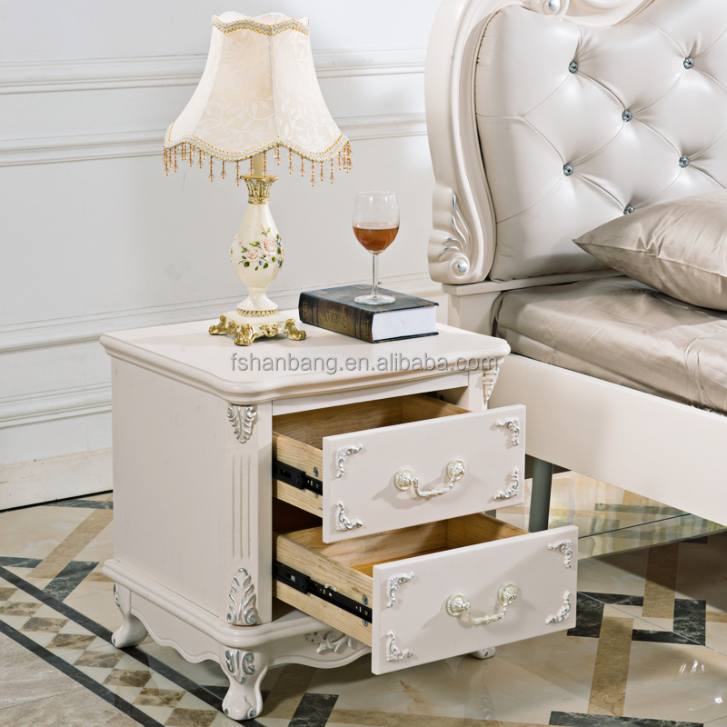 Silver Stroke Hand Carved Narrow French Country Furniture wooden side tables