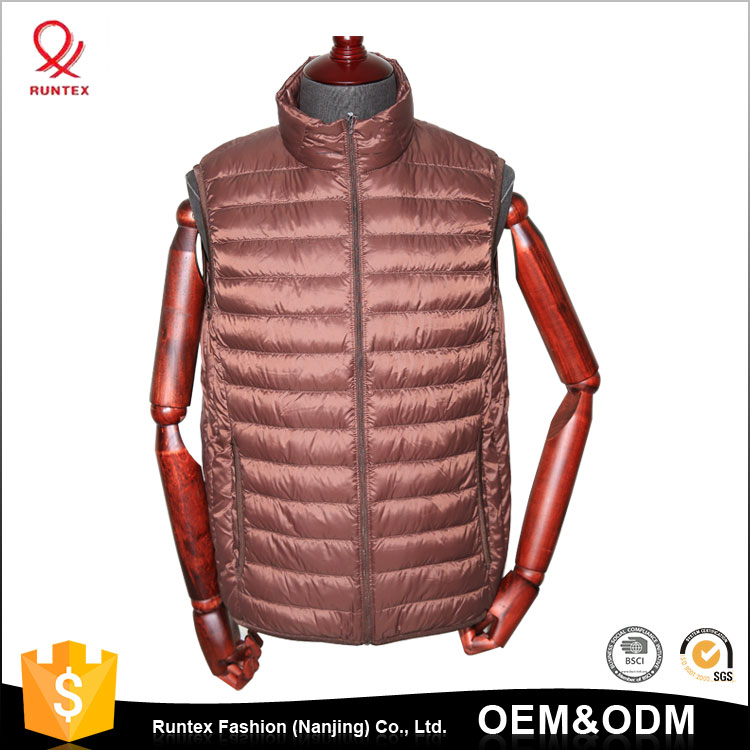 2017 Cheap winter clothes shiny thin down jacket Packable puffer vest for men