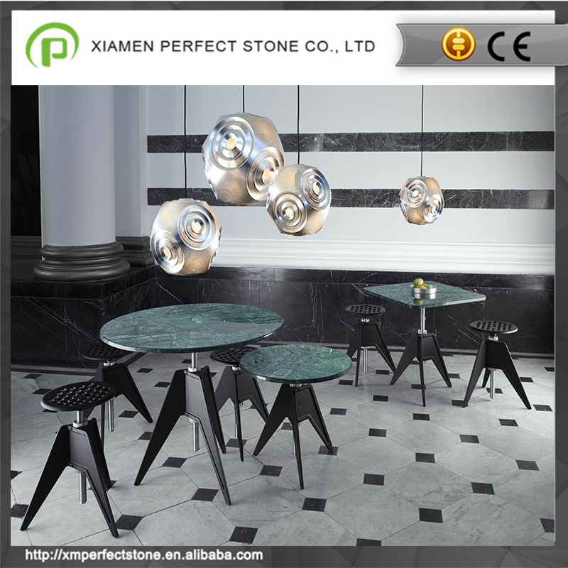 60x60 Round indian green marble top coffee & night table