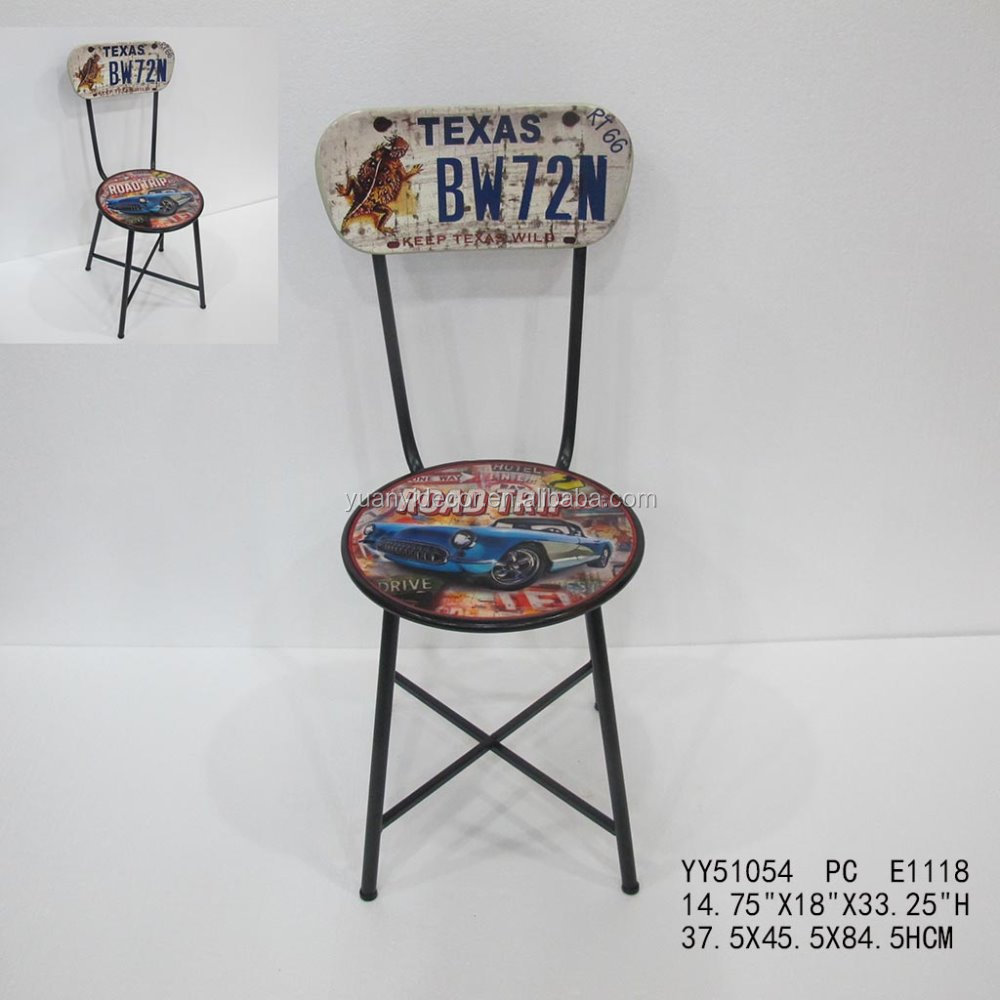 route 66 custom printing antique metal cafe folding chair buy