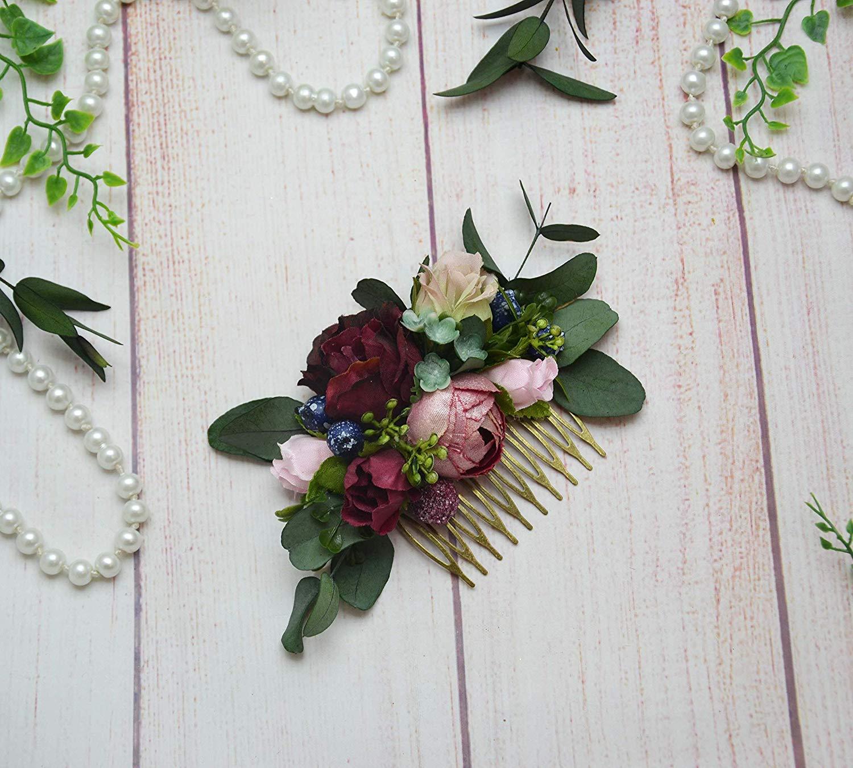 f459eae5bb8c Get Quotations · Burgundy Blush Beige flower comb Bride Bridesmaid floral  hair piece Fall wedding hair accessories