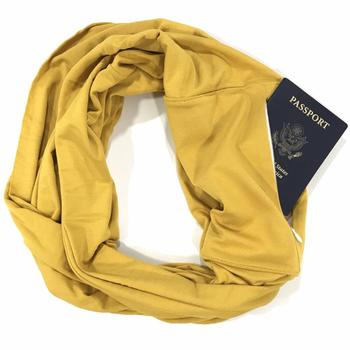 Wholesale Various Plain color infinity scarf with pocket