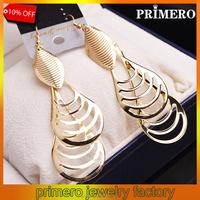 PRIMERO Tassels Long Earrings Women Jewelry New Trendy 18K gold Plated Vintage India Style Drop Earrings Wholesale