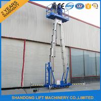 12m Hydraulic 2 Post Aluminum Alloy Man Lift Rental For Aerial Wok Platform