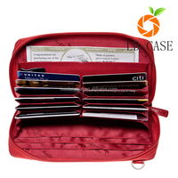 Designer fashion double zipper rfid leather wallet ladies traditional clutch purse
