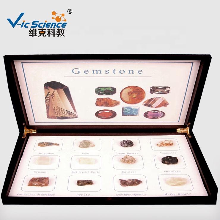 Geology studies Teaching precious stone gemstone educational specimens (12kind) Natural raw mineral