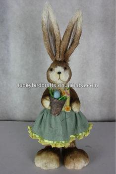Easter Bunny Rabbit Decoration Styrofoam Made Bunny Ornament Grass