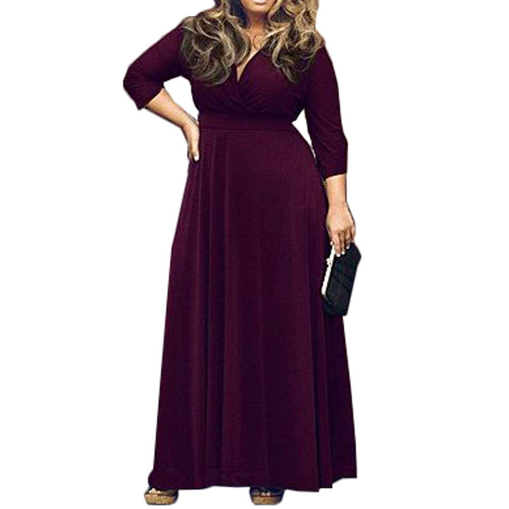 Get Quotations · Bodycon4U Women s Plus Size Deep V Neck 3 4 Sleeve Solid  Color Long Maxi Dress 2200232d1