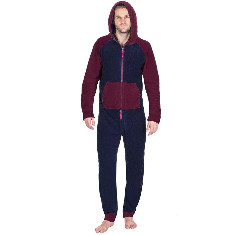 033fbb99f6 Get Quotations · Winsummer Mens Onesie Pajamas Adult Hooded Non Footed  Jumpsuit PJS Sleepwear