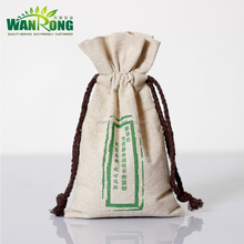 Handmade Eco friendly small linen drawstring dust bag with printed logo