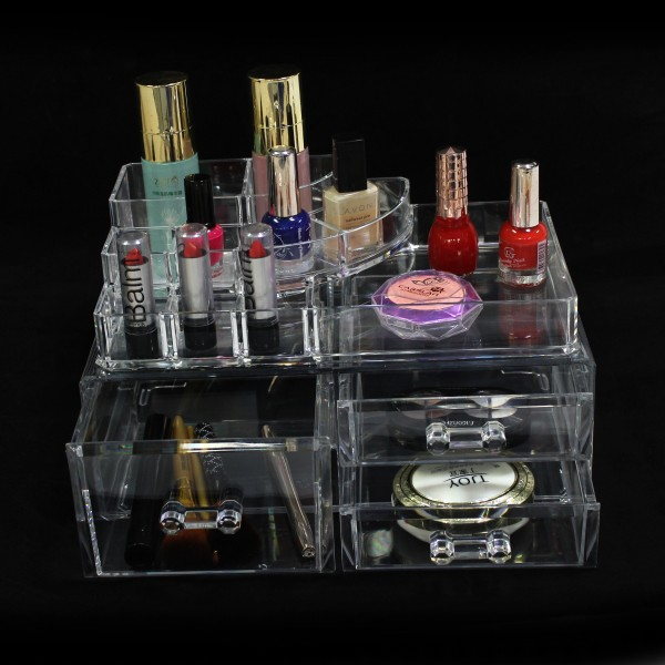 2016 Online Shopping Custom Clear Cosmetic Storage Drawer Box Crystal Handle,Frosted Acrylic Make Up Cosmetics Display Wholesale