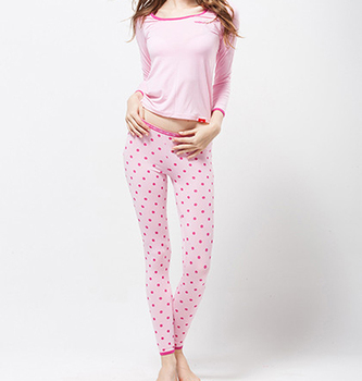 Hot Sale Pink Dot Pattern Pajamas For Ladies