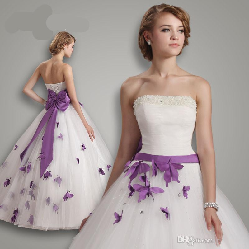 White Wedding Dresses With Purple