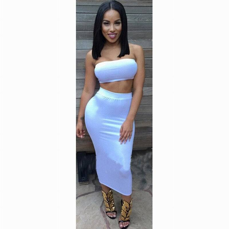 2e21f92091fa Get Quotations · New Summer Women Two Piece Outfits White 2 Piece Bandage  Bodycon Dress Sexy Mid Calf Strapless