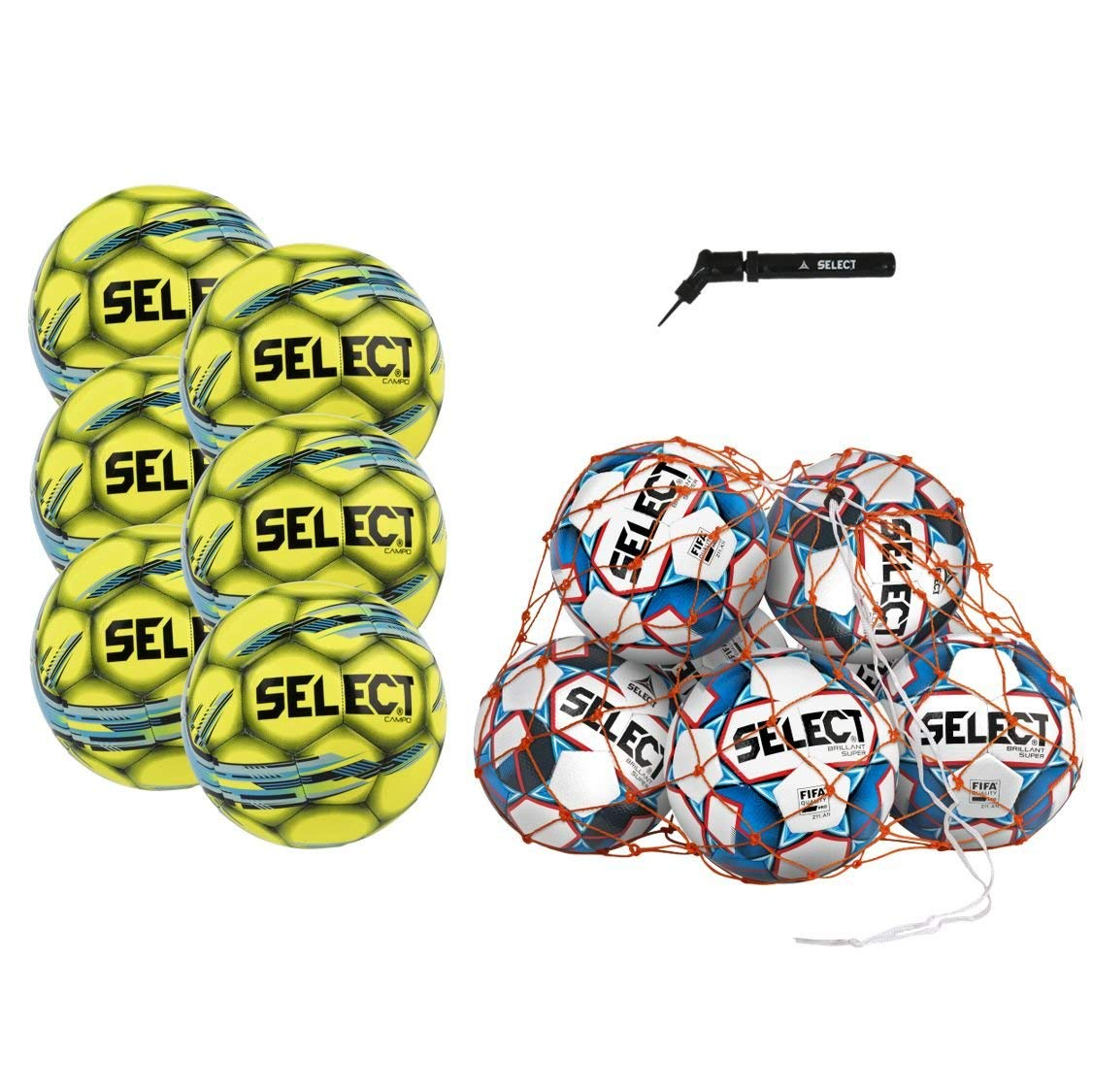 Select Campo Soccer Ball Package - Pack of 6 Soccer Balls Ball Net Hand Pump, Yellow, Size 5