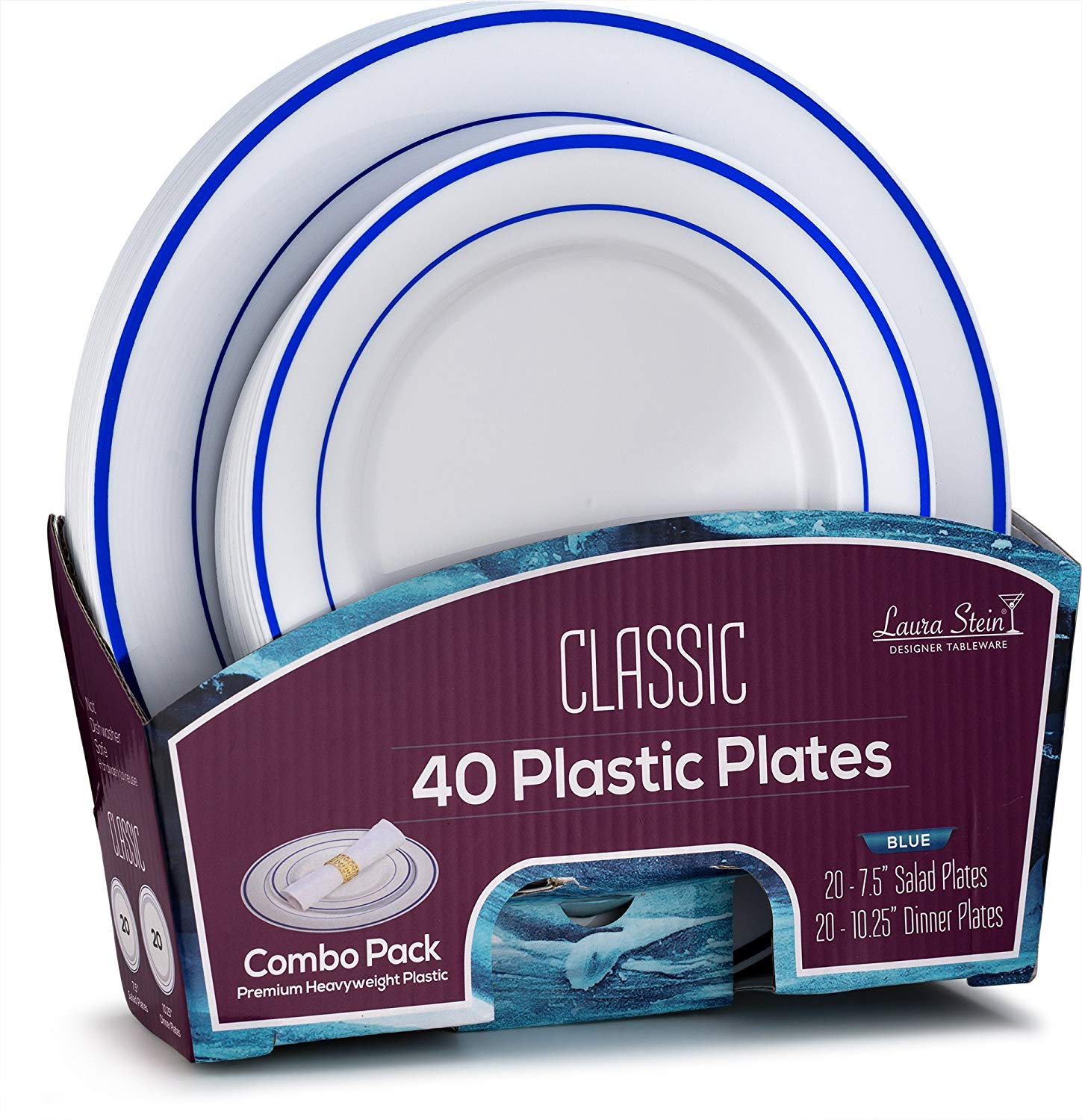Laura Stein Designer Tableware Classic Series Hot Stamp Combo Plastic Disposable Wedding Plates & Party Plates Sets (40 Piece Set (20 Sets), White & Blue)