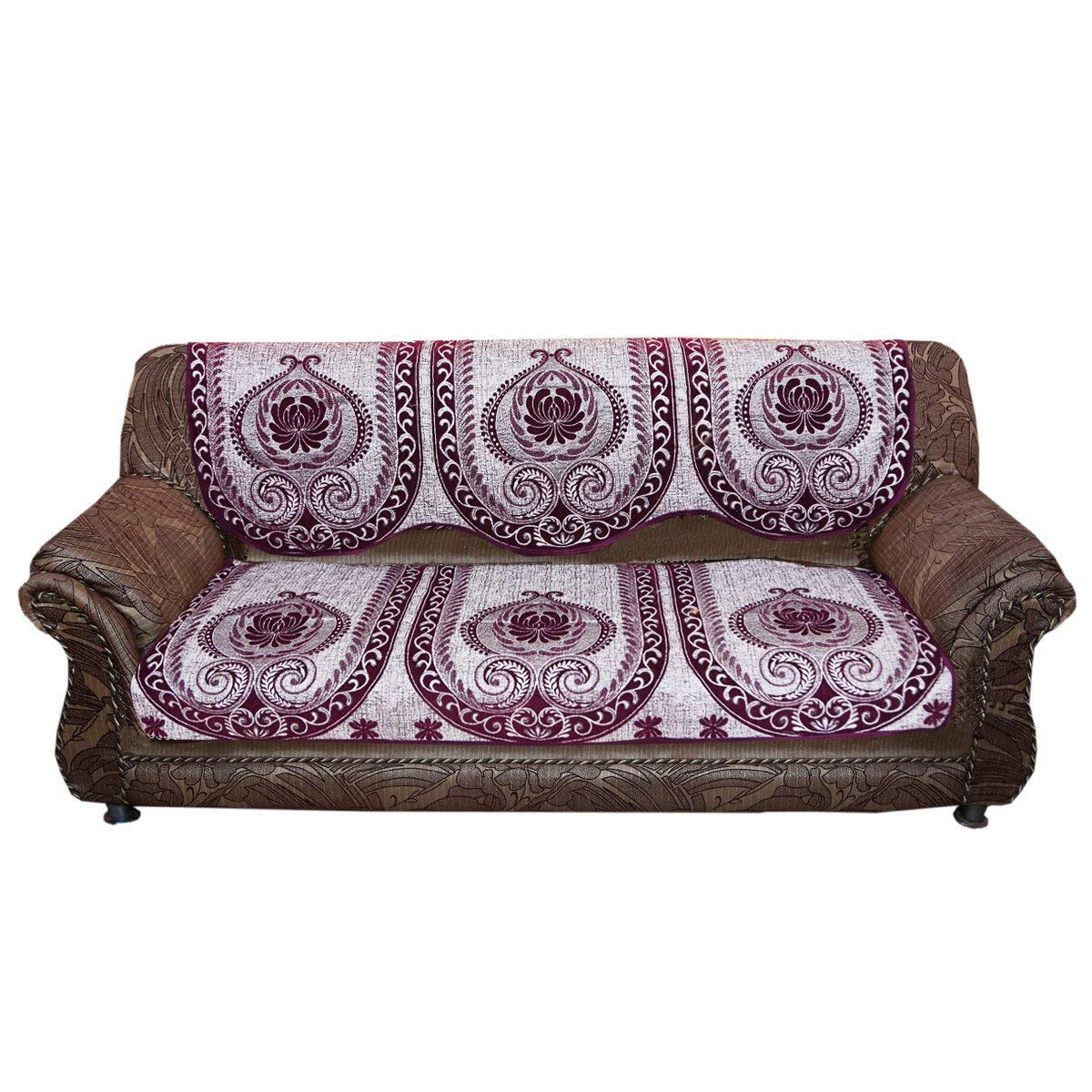 Get Quotations Kuber Industries Sofa Cover Heavy Velvet Cloth 5 Seater Set 10 Pieces Wine