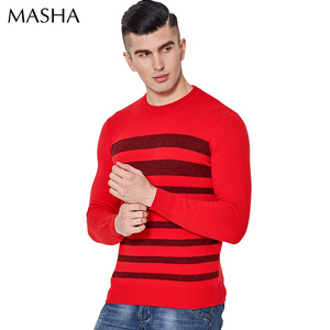 Chinese factory wholesale round neck long sleeves design of hand made sweater for men