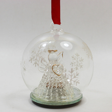 Hot Hanging stained glass ball ornaments with led angel inside for xmas decor