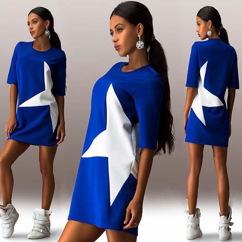 9b418aa8ad7 Модное горячая Распродажа oem сексуальное 100% полиэстер Половина рукава  печать блестящая Звезда короткое платье