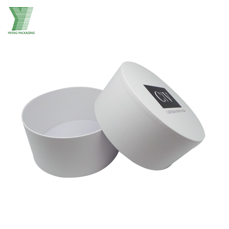 Yifeng customized soft touch finished recycle paper packaging white and black logo round boxes gift