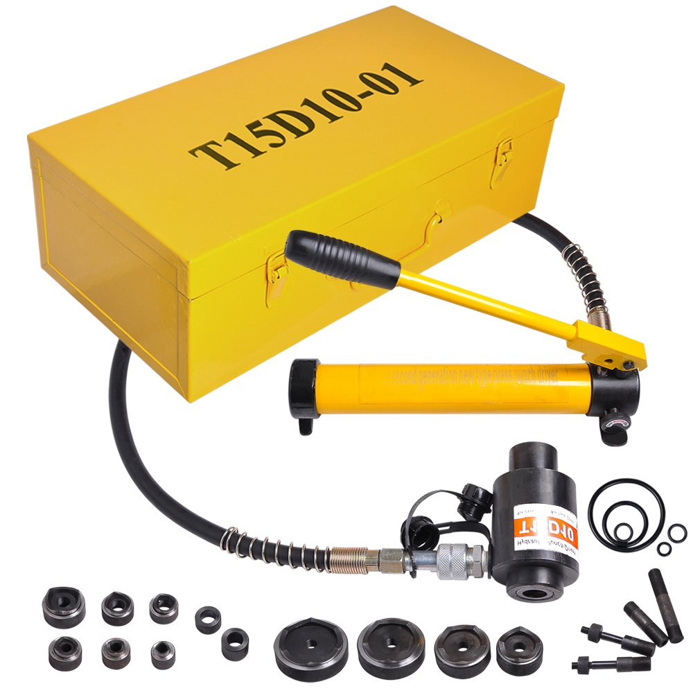 """15 Ton 1/2"""" to 4"""" Hydraulic Knockout Punch Driver Kit Hole Complete Tool 10 Dies 11 14 Gauge Tool Metal Case Yellow"""